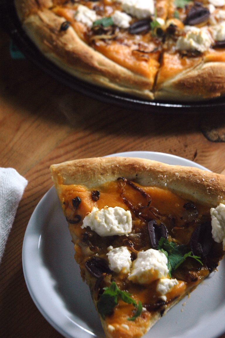 Caramelized Shallot and Feta Pizza with Sweet Potato Sauce