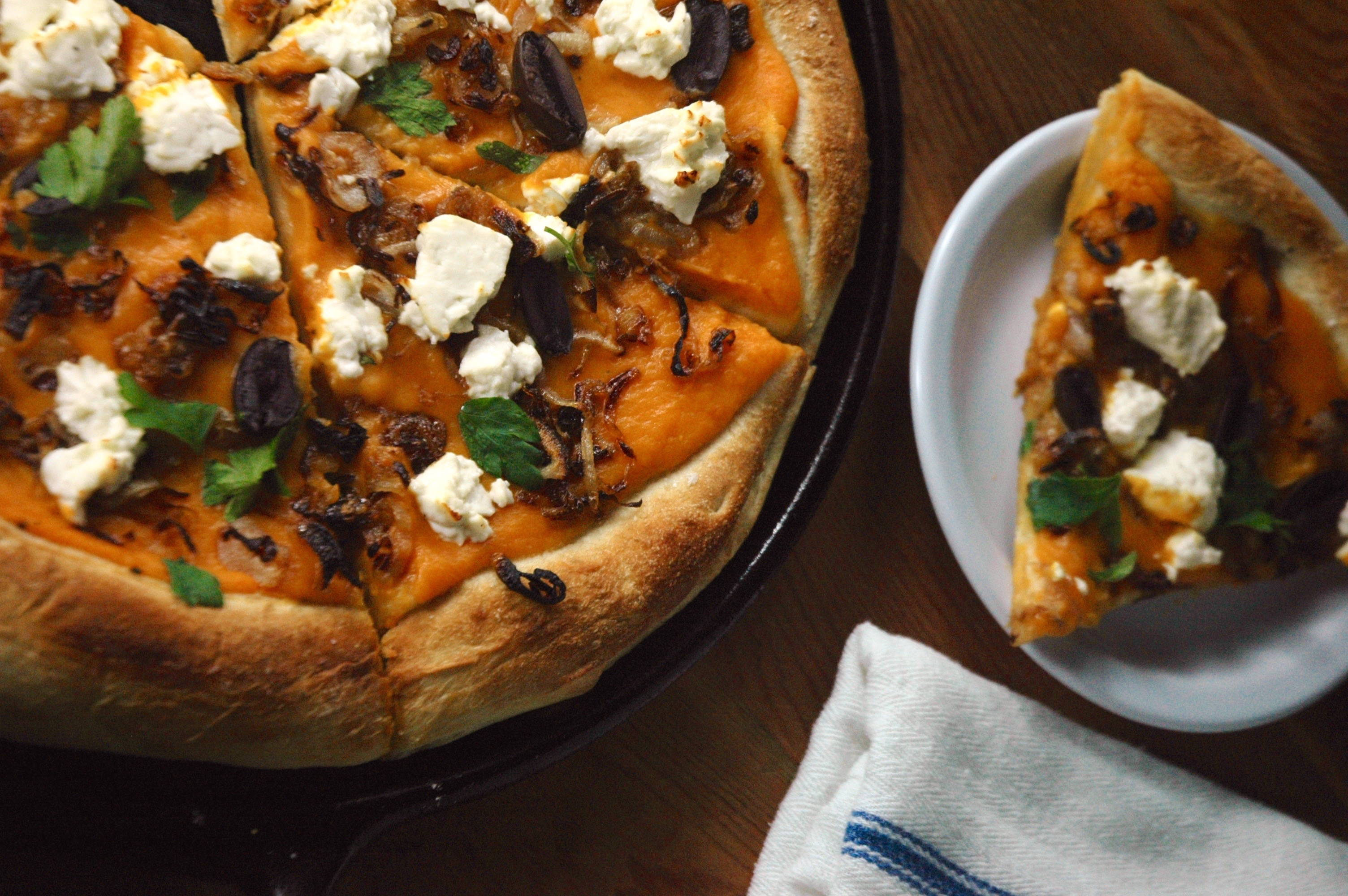 Caramelized Shallot and Feta Pizza with Sweet Potato Sauce
