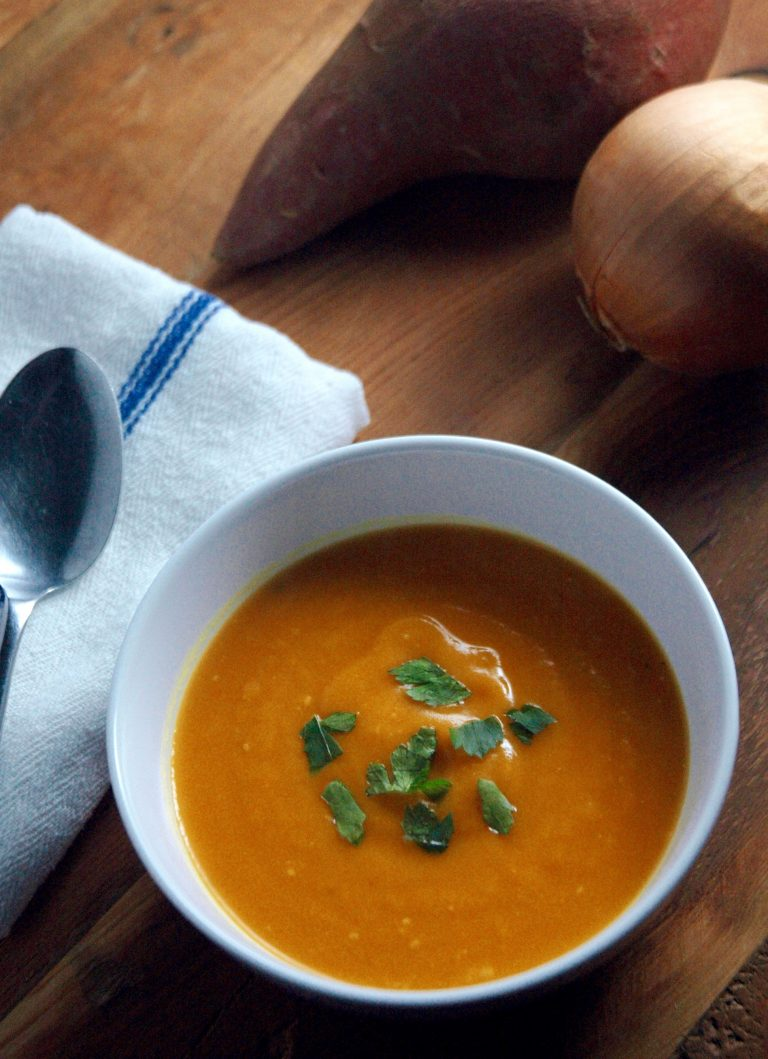 A simple yet decadent and comforting sweet potato soup.