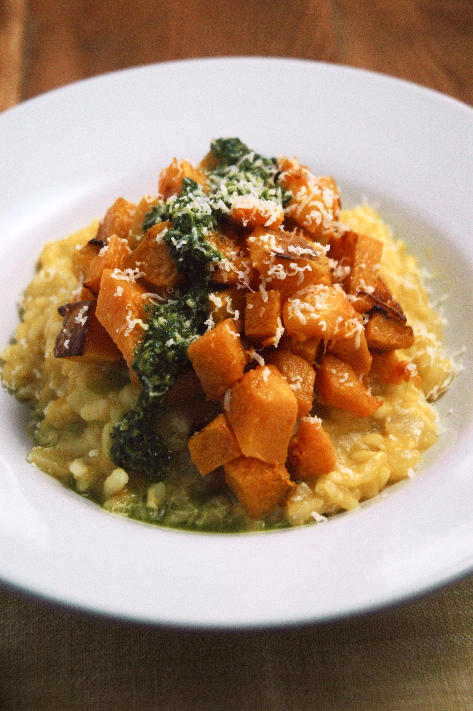 Butternut Squash Risotto with Lemon Herb Sauce