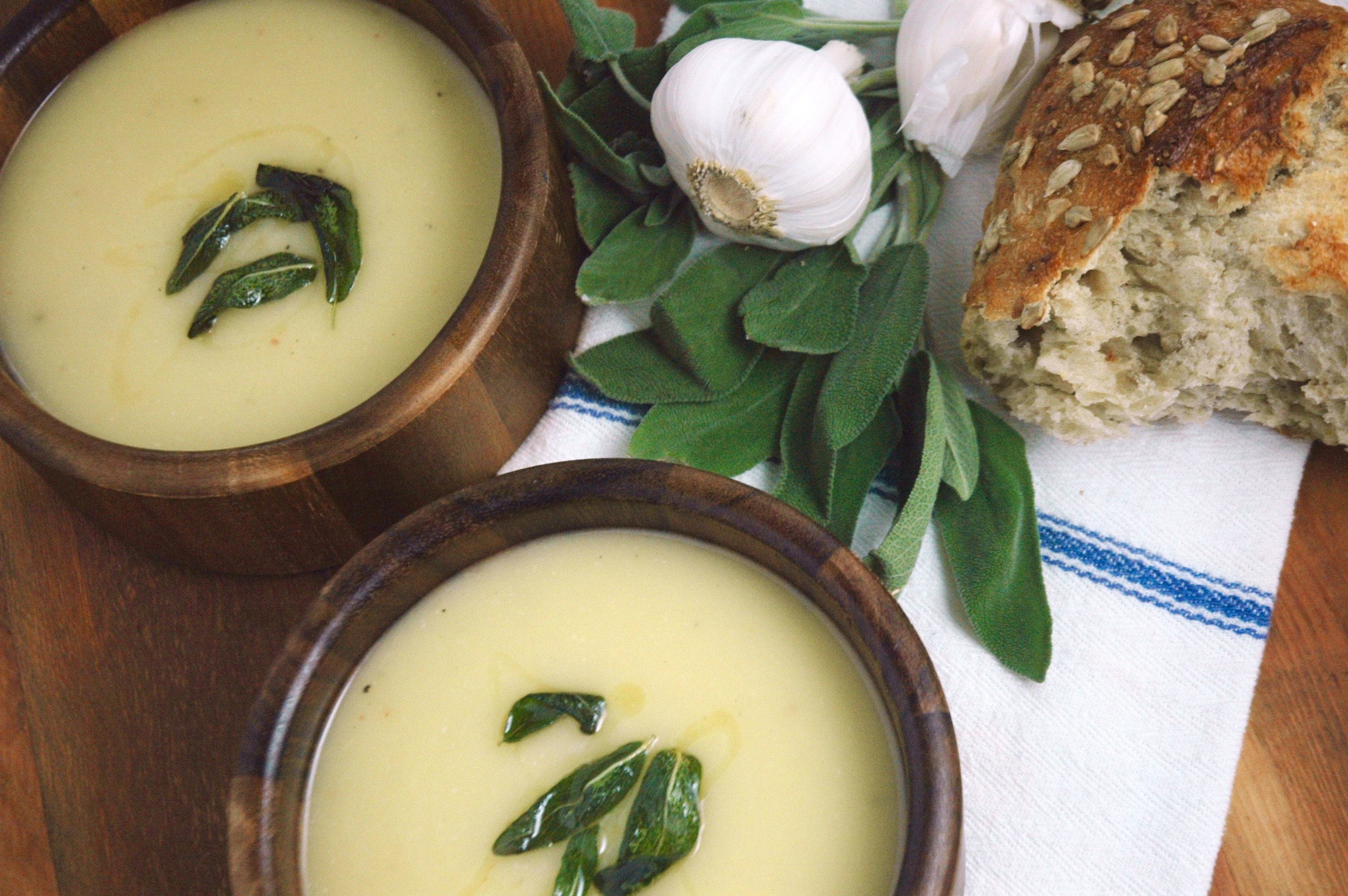Potato Leek Bisque with Fried Sage