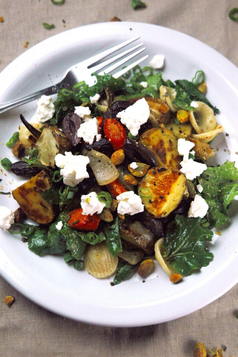 Rustic Kale Salad with Herb-Roasted Root Vegetables