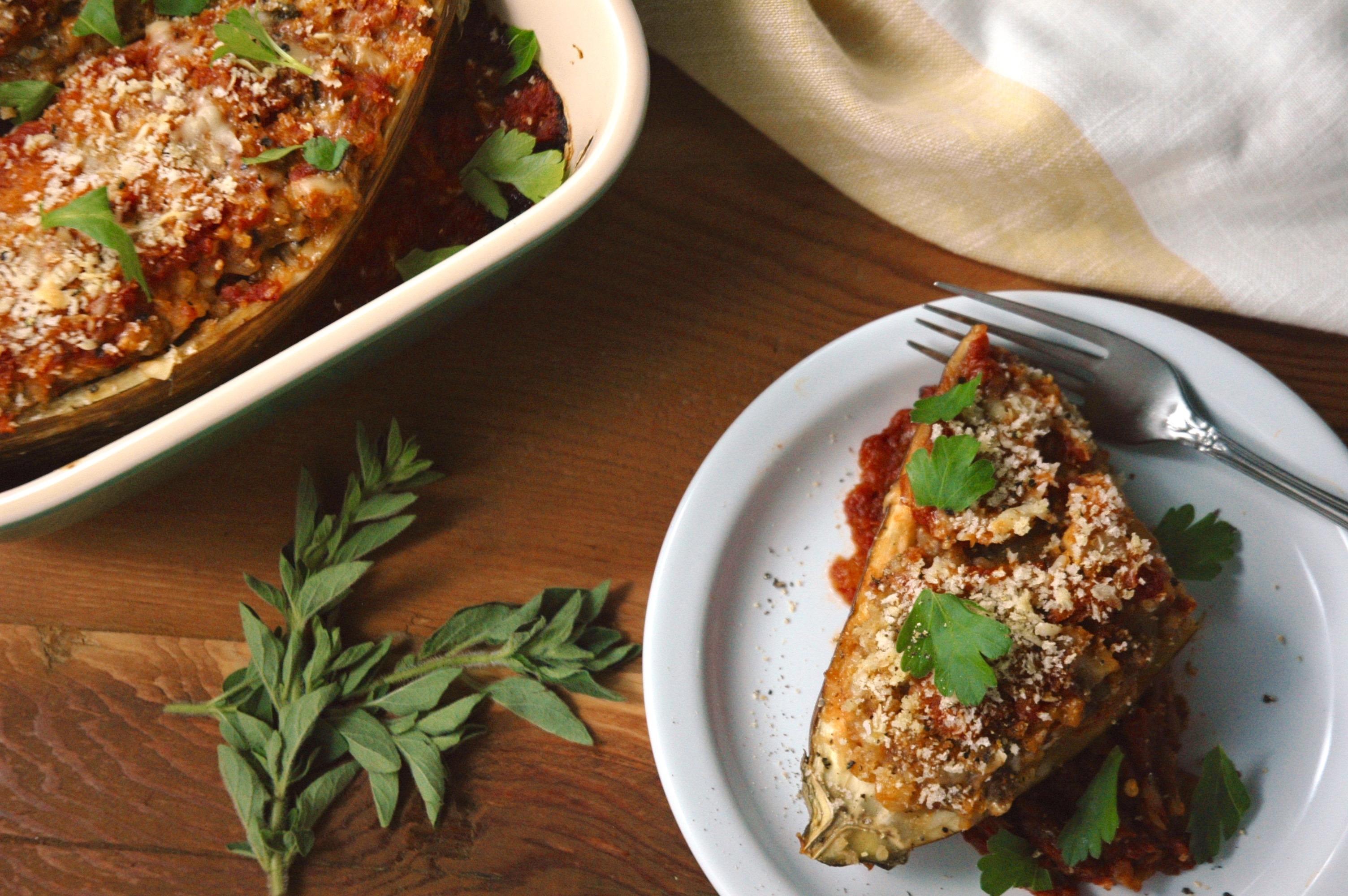 Arancini-Stuffed Baked Eggplant