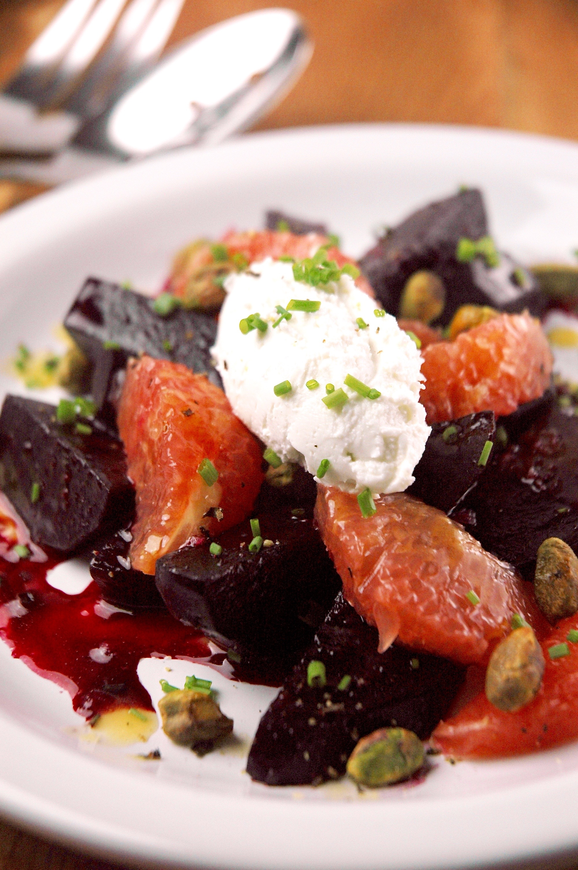 Roasted Beet Salad with Goat Cheese Mousse and Ginger Vinaigrette
