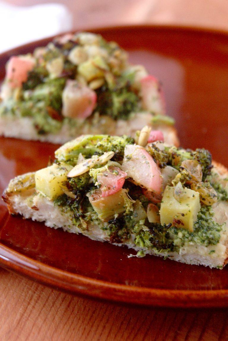 Broccoli & Radish Toasts with Mint Pesto & Smashed White Beans