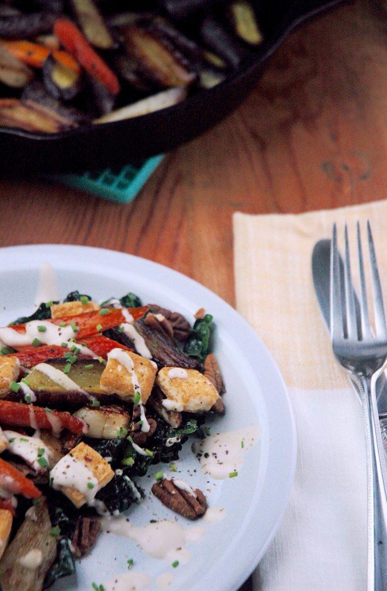 Carrot & Kale Salad with Creamy Honey Tahini Dressing