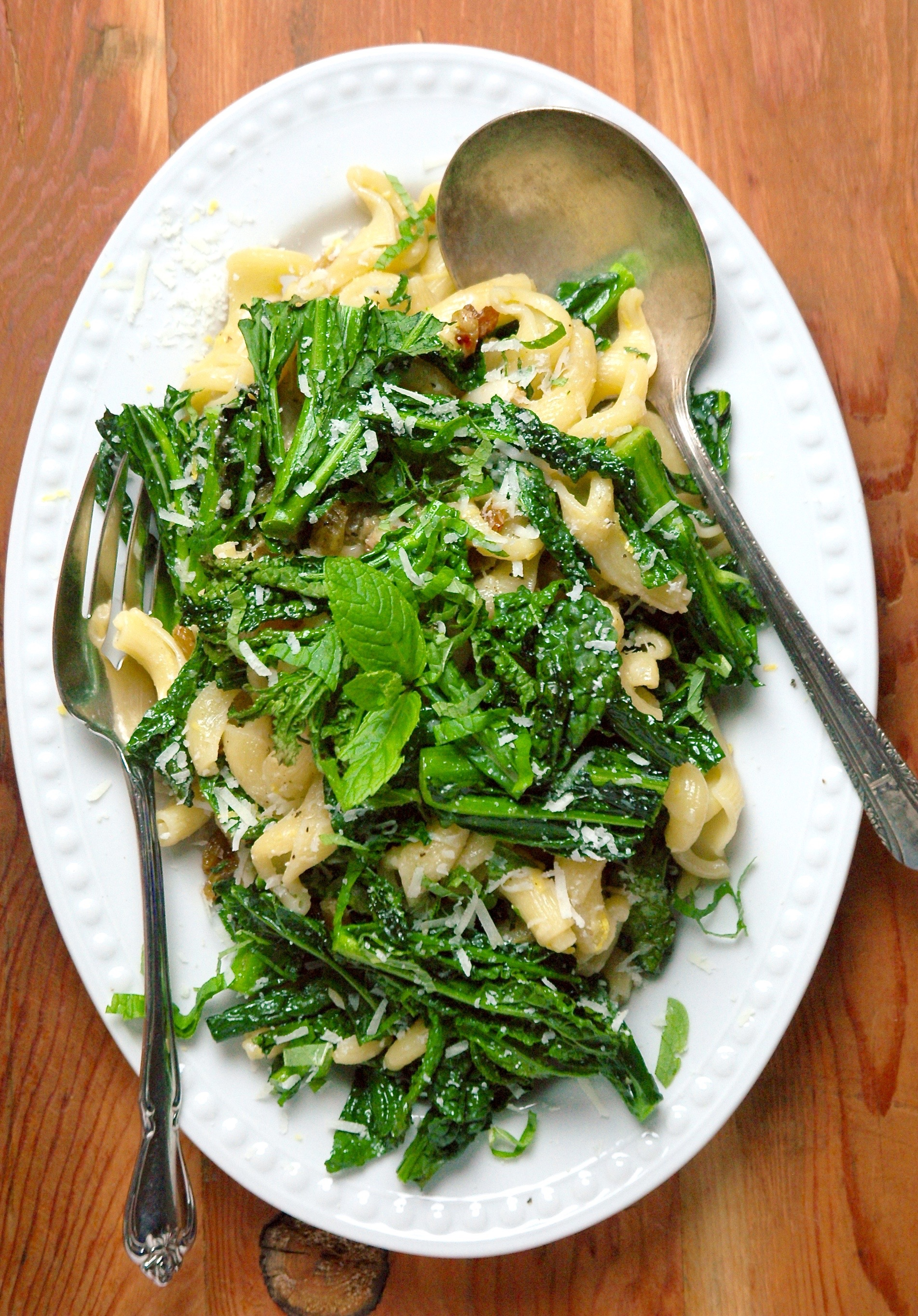 Kale Rabe Pasta with Fresh Mint and Romano