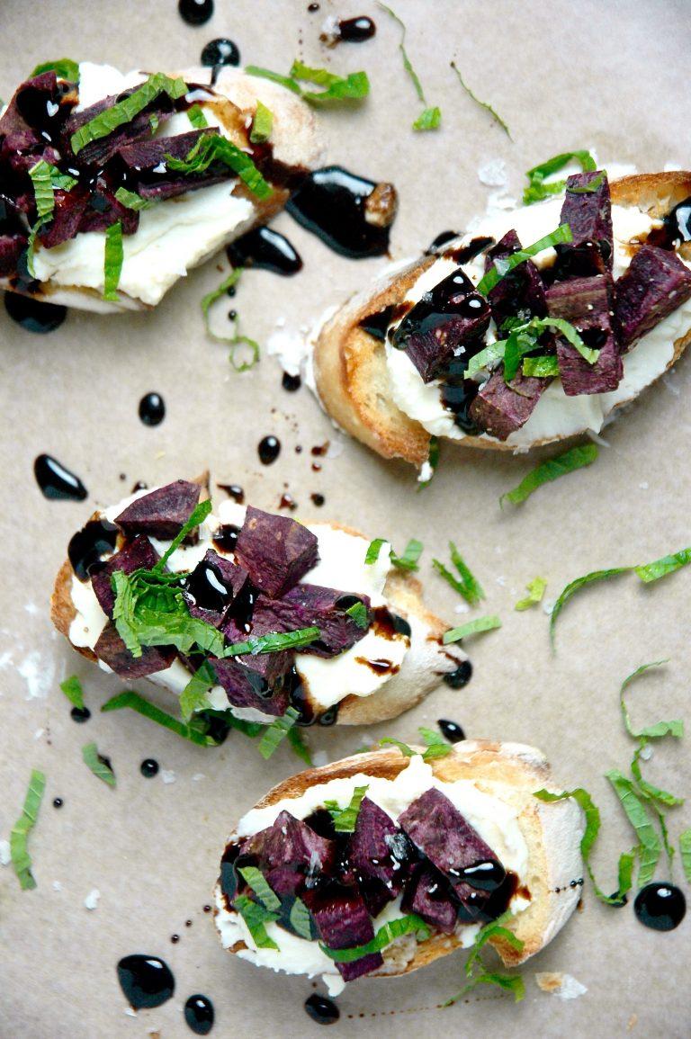 Purple Sweet Potato Crostini with Spiced Ricotta and Honey Balsamic Glaze