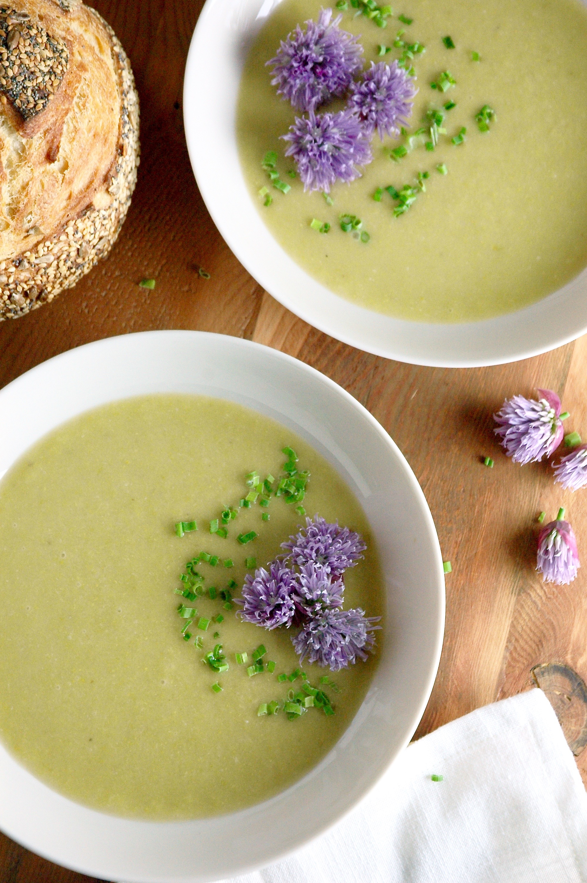 Creamy Asparagus Soup with Chive Flowers