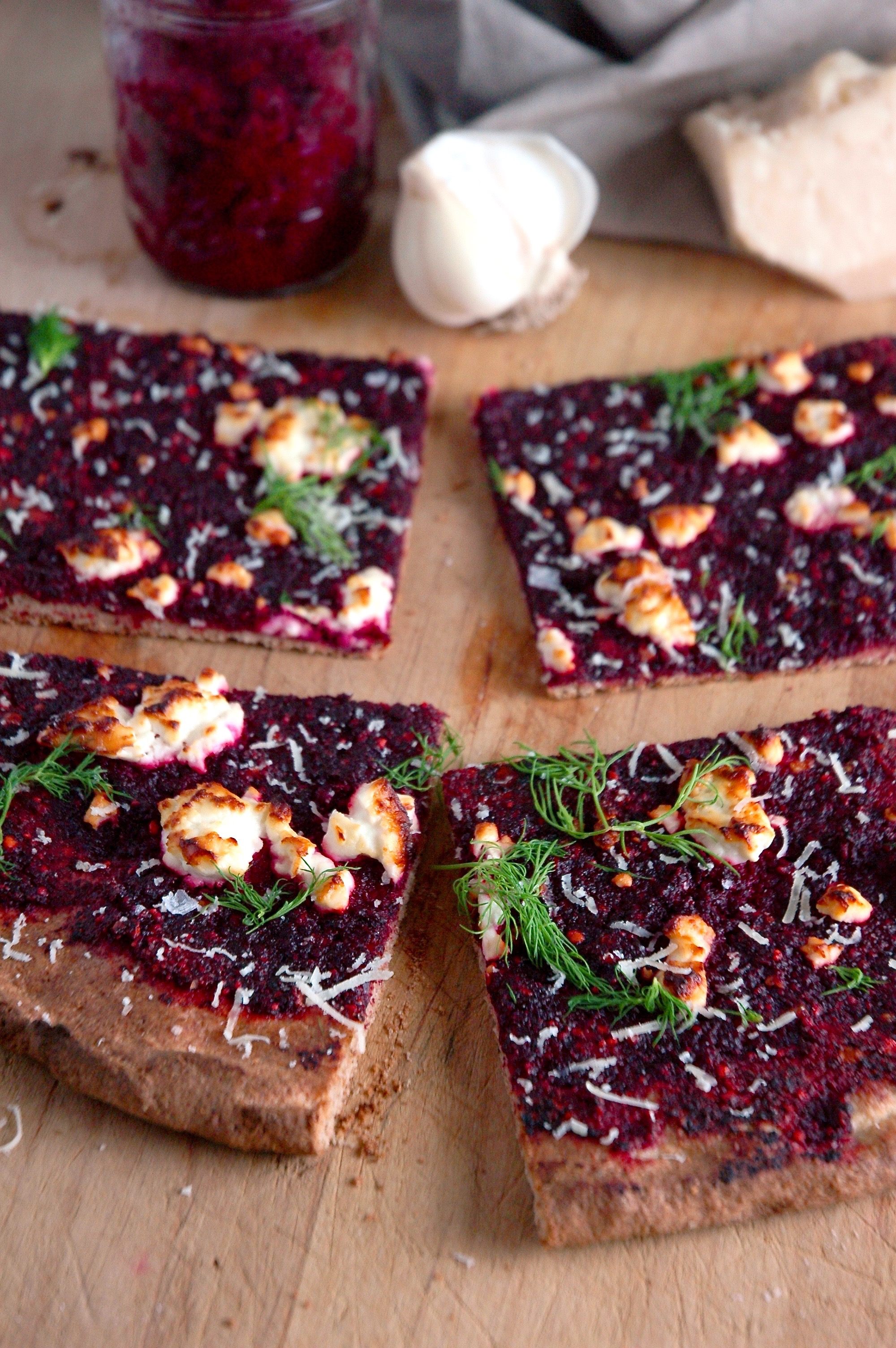 Beet Pesto Pizza with Feta and Dill