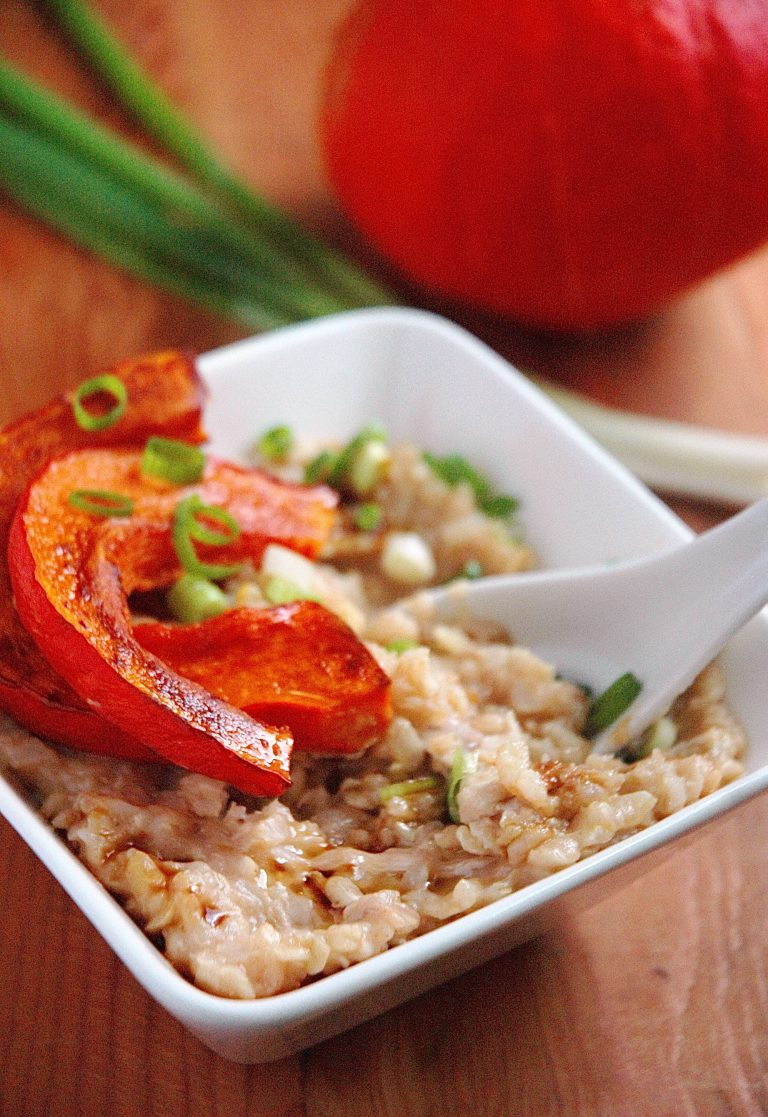 Brown Rice Congee Roasted Red Kuri Squash