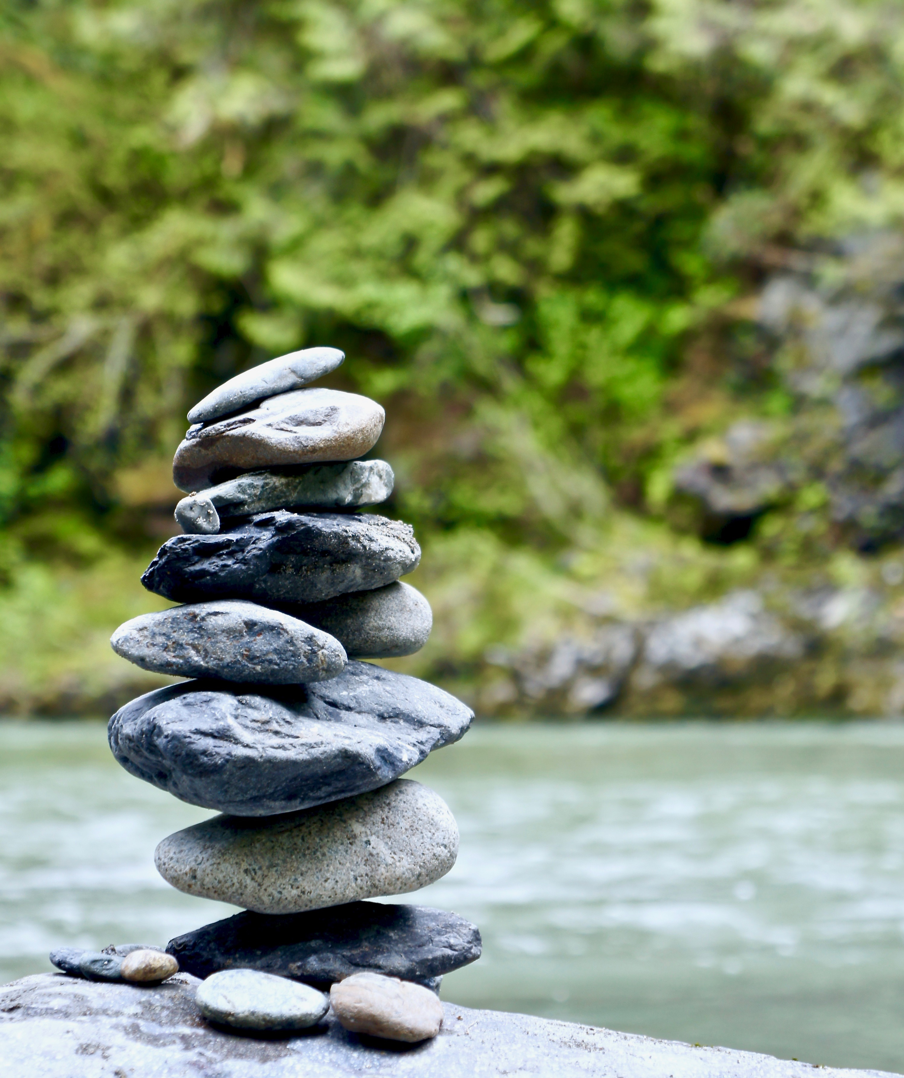 Rocks stacked up alongside the Stillaguamish river.